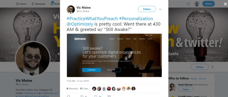 web cases personalization optimizely